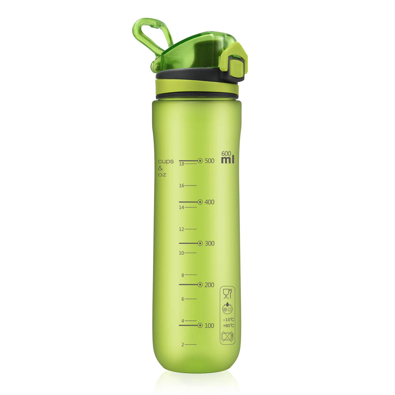 Letsfit Sports Water Bottle, BPA-Free Tritan Plastic Water Bottle with Locking Flip-Flop Lid, Leakpoof and Dustproof Cap, Carry Loop, 21oz Bottle for Outdoor Hiking Camping Travel (Frosted Green)