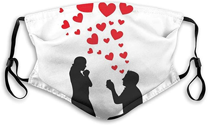 YYTT8 8pcs Gesichtsbedeckung Mundschutz Hochzeit Vorschlag des  romantischen Paares mit Herzen Bild