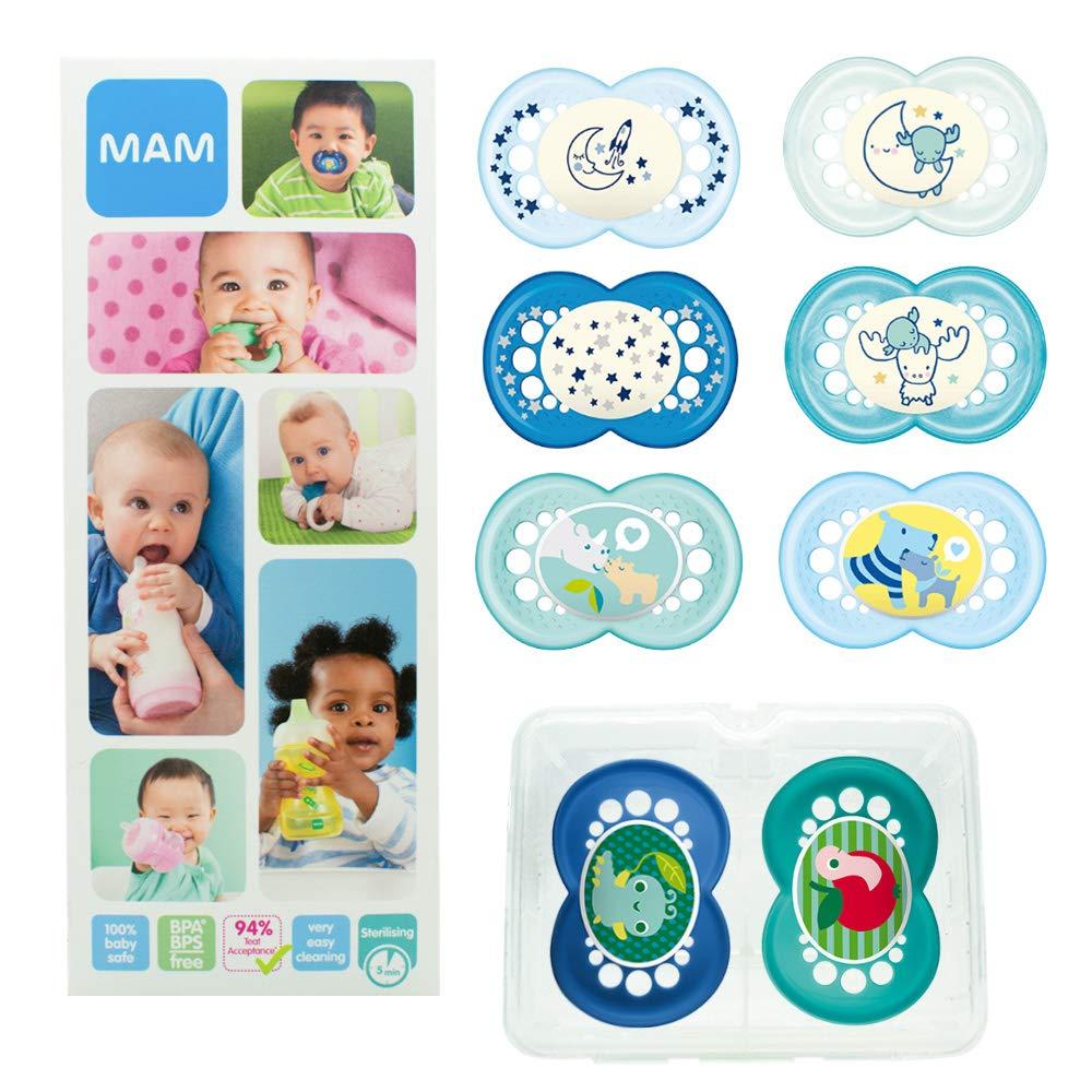 MAM Day & Night Soothing Set, juego de regalos para bebés de +6 meses, 4 chupetes de silicona Original +6 (2x día y 2x noche) y otros 4 para +16 (2x ...