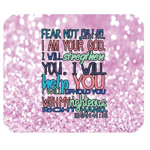 Free Design Christian Bible Verse Quotes Fear not, for I am with you. I am your God. I will strengthen you. I will help you. I will uphold you with my righteous right hand. Isaiah 41:10 Pattern With Pink Sparkles Glitter Background Design Cloth Cover Rectangle Gaming Mouse Pad Mat 9.84×7.87 Inches