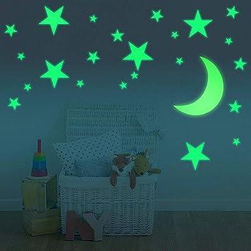 Comius 282 Pcs Leuchtsterne Punkten und Mond Wandsticker f/ür die Zimmerdecke f/ür Kinder Leuchtende Sterne f/ür Den Perfekten Sternenhimmel