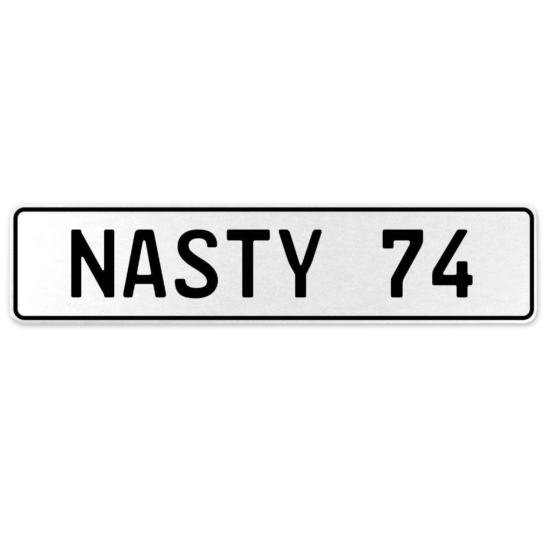 Vintage Parts 556948 Nasty 74 White Stamped Aluminum European License Plate