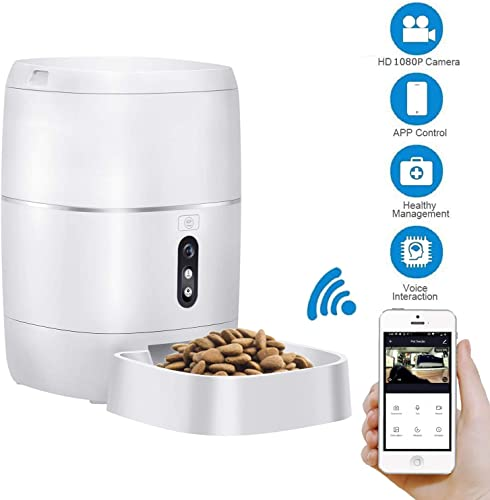 LeeKooLuu Q01 WiFi Smart Feeder 6L Automatic Cat Feeder Automatic Dog Feeder Timer Programmable 1080P HD Camera for Voice and Video Recording Enabled App for iPhone and Android