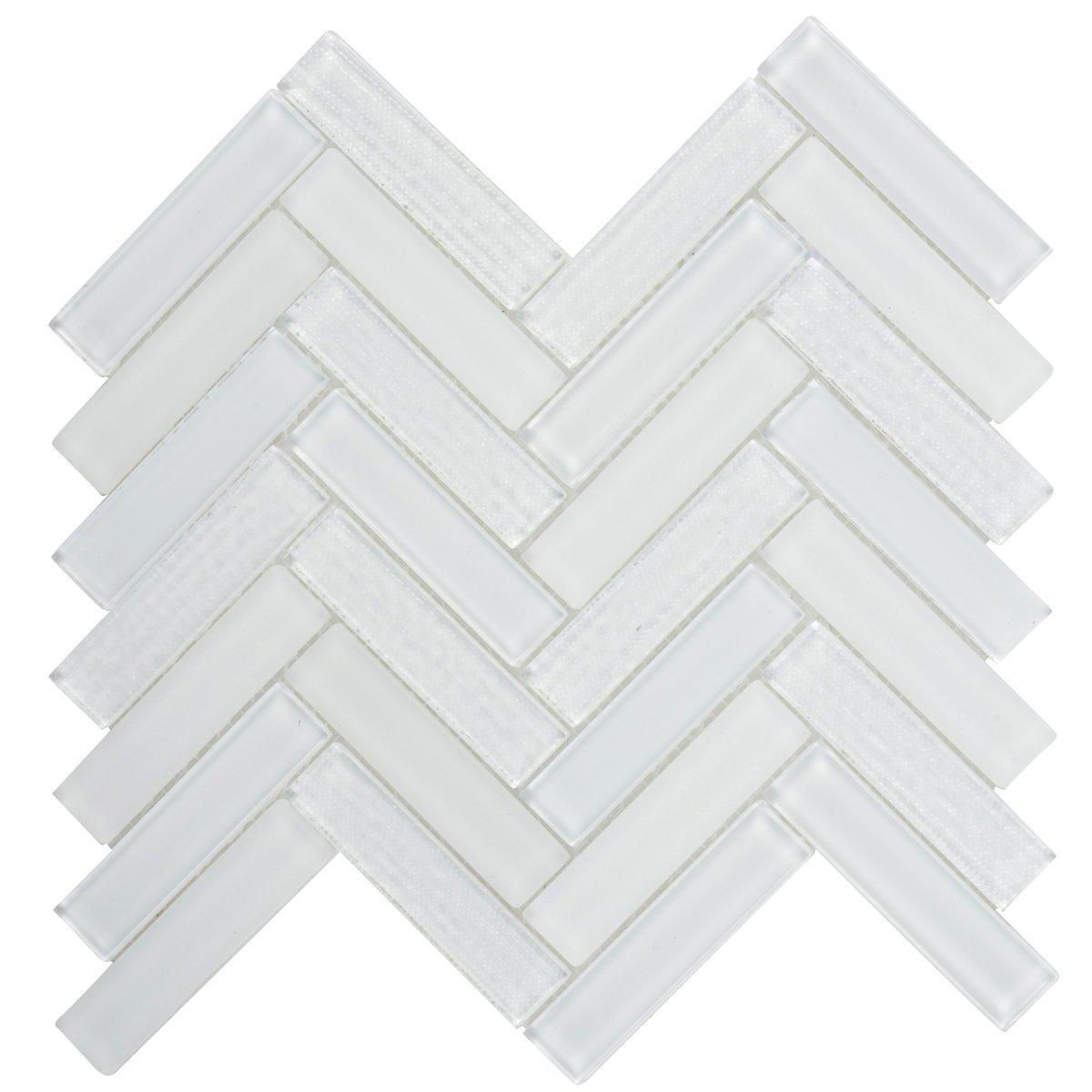 Modket TDH89MO Super White Crystal Glass Mosaic Tile, Texture, Matte Blend Herringbone Pattern Backsplash