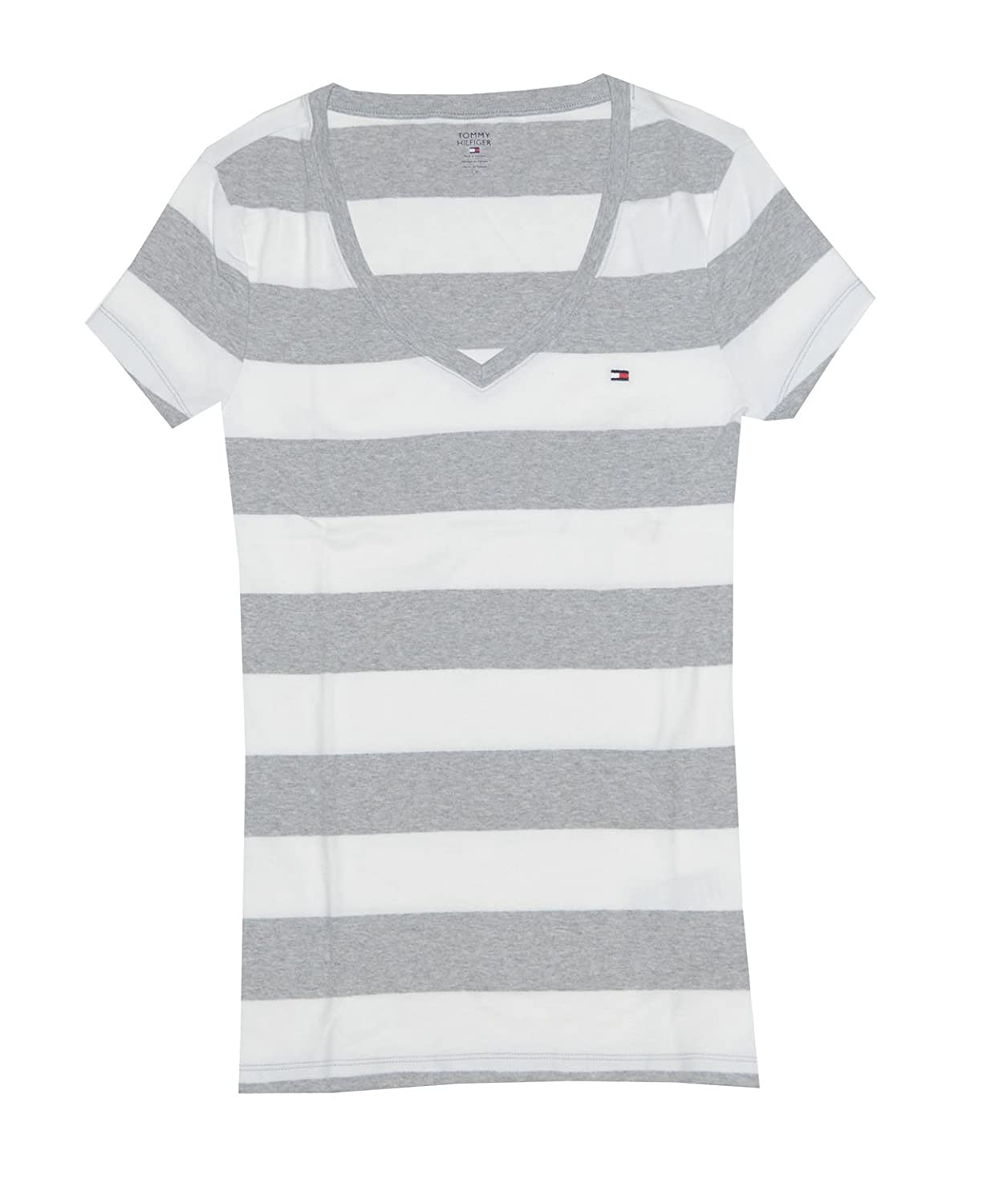 63cc3e7e Tommy Hilfiger Women's Wide Stripes Logo V-Neck T-Shirt: Amazon.co.uk:  Clothing