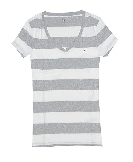 63cc3e7e Tommy Hilfiger Women's Wide Stripes Logo V-Neck T-Shirt: Amazon.co.uk:  Clothing