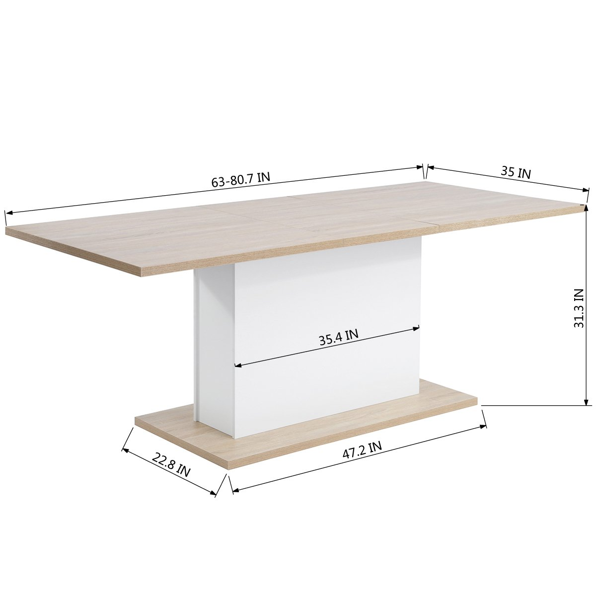 Extendable Rectangular Dining Table, Mltifunction Space Saving Wood Table (Extendable Beech Table) by HOMY CASA (Image #5)