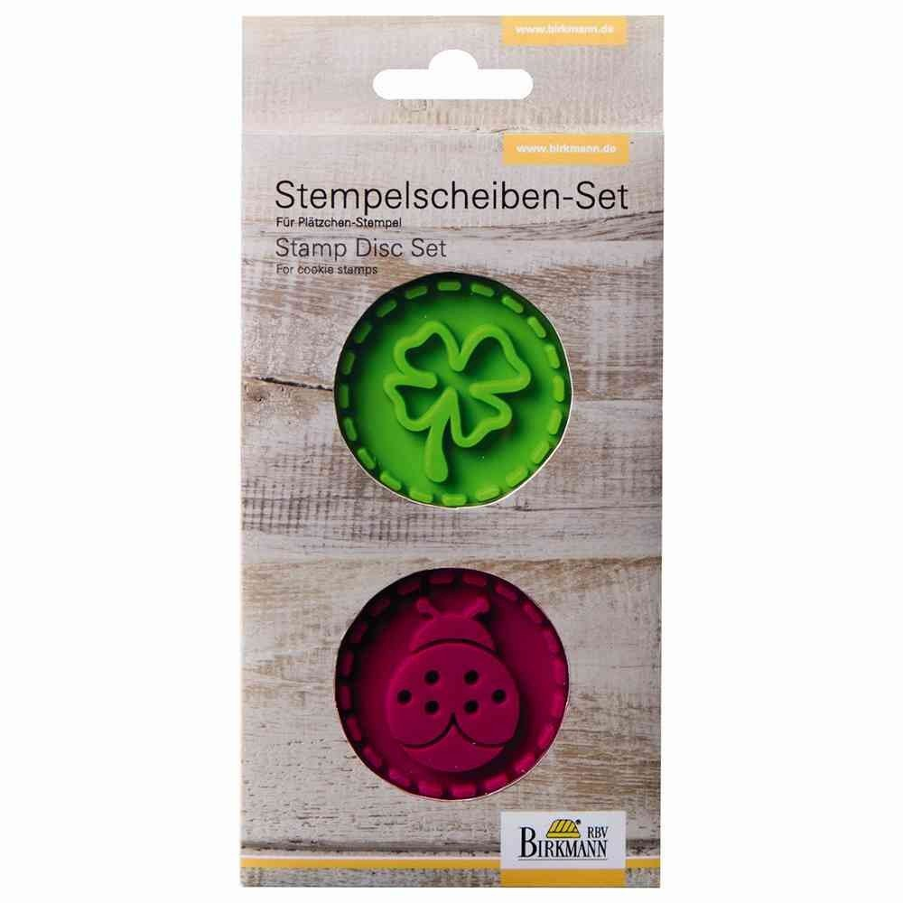 Birkmann Stamps Slices Set Ladybird and Cloverleaf, Silicone, Green/Dark Red, 7 x 7 x 0.5 cm RBV Birkmann 340428