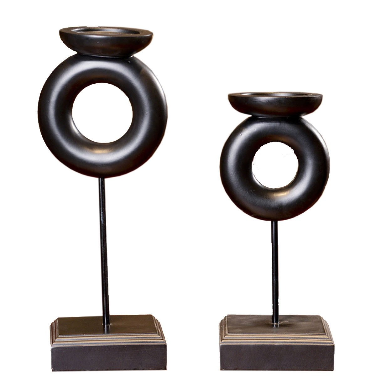 Elegant Vintage Resin Candle Wedding Candlestick Statue Lovely Decor Candle Holder Props Art Sculpture Brown Crafts A Pair