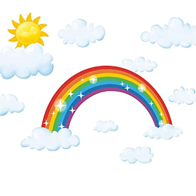 HERRA Sparkling Rainbow Wall Decal Cloud Wall Sticker Home Decor Peel and Stick Removable Rainbow with Cloud Wall Stickers Wall Mural for Kids Nursery Bedroom Living Room: Kitchen & Dining