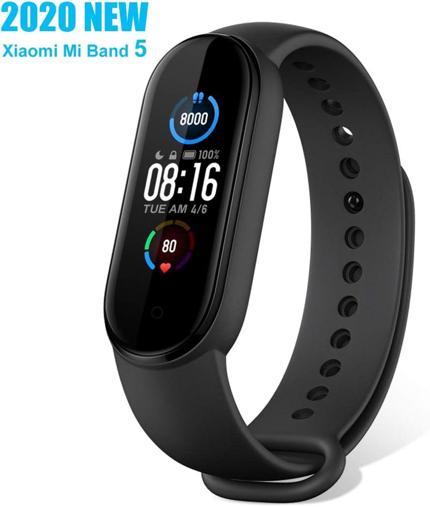 """Xiaomi Mi Band 5 Pulsera de Actividad, Monitores de Actividad, Pantalla Fitness Tracker, Smartwatch 100+ fondos de pantalla temáticos, 1.1""""Pantalla Dinámica Color, 50M a prueba de agua(Negro, 2020)"""