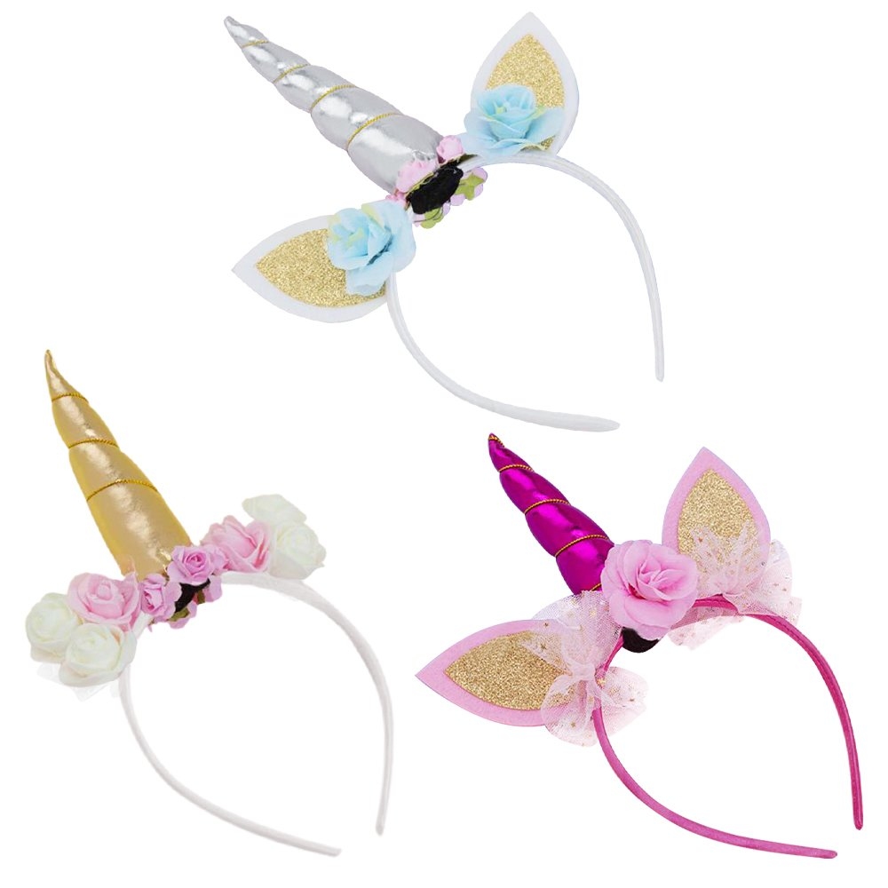 Amazon.com   Ginkago Gold Unicorn Headband,Girls Party Birthday Decoration  Headbands b7d4611377f