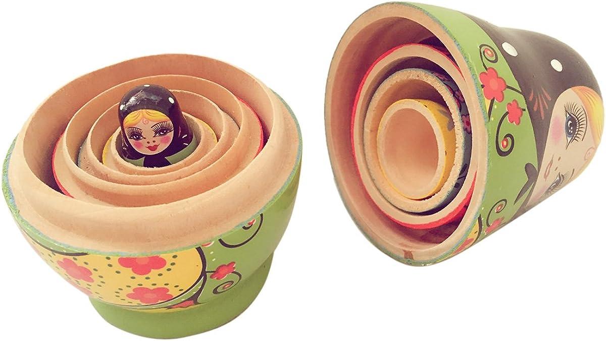 Happy Cherry Matroschka Set Handgemachte DIY H/ölzerne Russische Verschachtelungs Puppen Geschenk Traditionelle Russische Nesting Wishing Puppen Matroschka