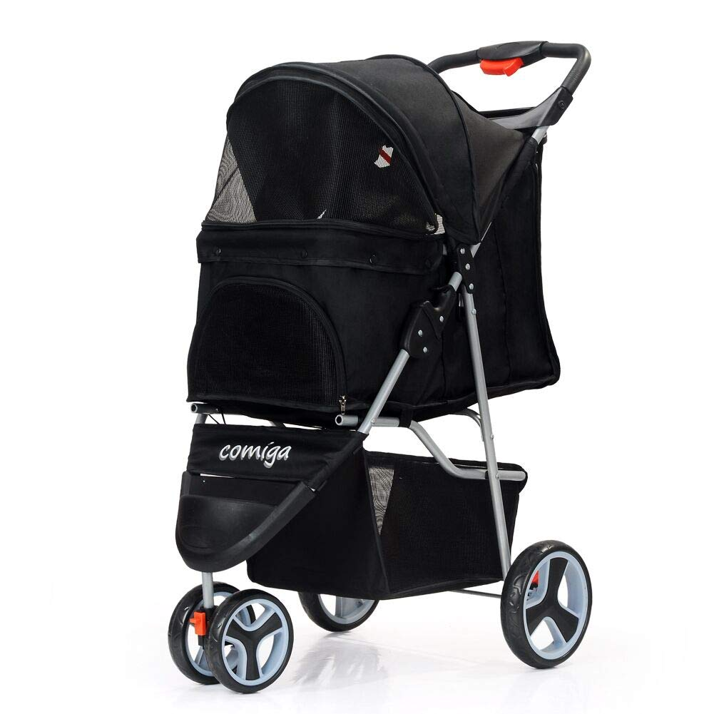 comiga Pet Stroller for Dog & Cat, Three-Wheel Easy Foldable Travel Stroller for Puppy, Kitten, Waterproof Pet Carrier with Storage Basket, Up to 33.06 lbs, Black