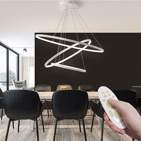 Bacrek Chandelier, Modern LED Pendant Lights Adjustable Chain Line, 3 Rings 30 45 60cm Metal Hanging Lights, Dimmable Remote Control Chandelier for Bedroom Dining Room Kitchen Island White