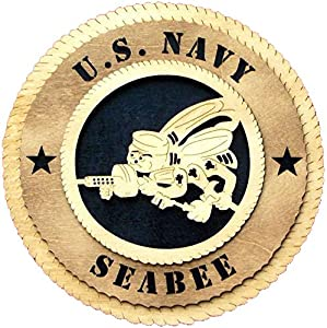 Laser Engraved, Personalized WT267 Seabee Wall Plaque from dc-crystal.com