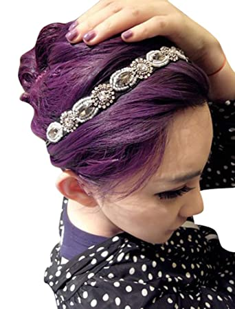 87608e54830 Amazon.com   Rhinestone Beaded Hair Hoops Headbands Jewels Workmanship Headbands  Elastic Non Slip Hair Bands Women Lady Girls Hair Straps Jewelry ...