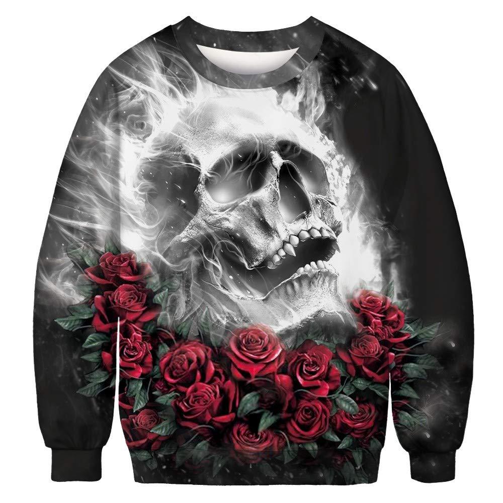 Mlide 3D Skeleton Print- Unisex Long Sleeve Sweatshirt Pullover O Neck Top Blouse(Black A,X-Large) by Mlide