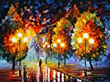 Rain In The Night City is a Limited Edition print from the Edition of 400. The artwork is a hand-embellished, signed and numbered Giclee on Unstretched Canvas by Leonid Afremov. Embellishment on each of these pieces will be slightly different, but th...