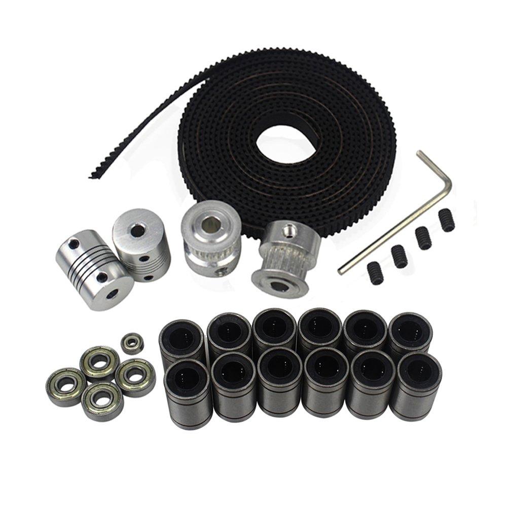 BALITENSEN 3D Printer Movement Kit for Reprap Prusa I3-GT2 Timing Belt + 20T Timing Pulley + 608zz Bearing + LM8UU Linear Bearing + 624zz Bearing + Motor Shaft Flexible Coupler