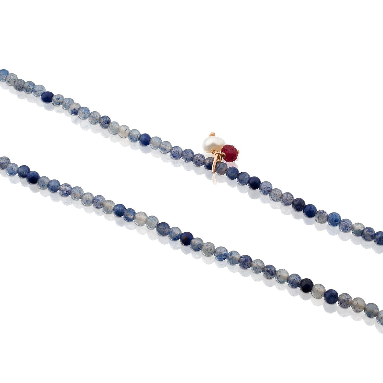 caaedc26c816 Collar TOUS Camille de plata vermeil rosa y sodalitas con rubíes de ...