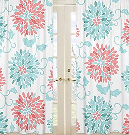 Window Treatment Panels for Modern Turquoise and Coral Emma Collection - Set of 2