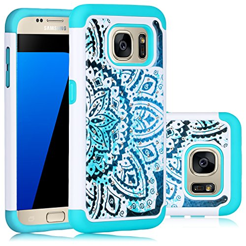 Galaxy S7 Case, HengTech (TM) Premium Durable Dual Layer Hard amp and Soft Hybrid Rhinestone Bling Armor Defender [ Anti Scratch ] Phone Case Cover Shell (White/Turquoise)