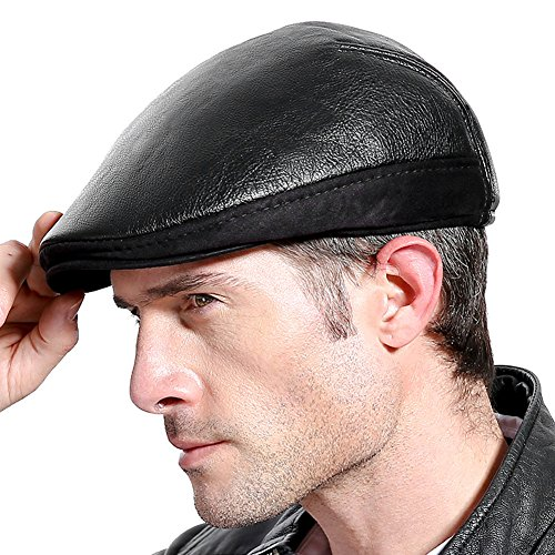 - Molodo Men Classic Leather Newsboy Flat Cap Winter Gatsby Ivy Hunting Beret Hat