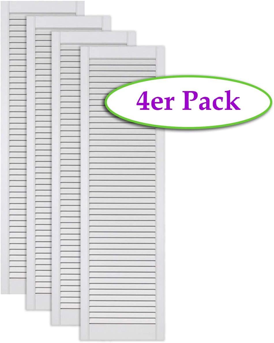 Schr/änke 2-er Pack//Zwei St/ück Lamellent/üren wei/ß seidenmatt mit offenen Lamellen Kiefernholz 690 x 394 x 21 mm f/ür Regale EINBAUFERTIG grundiert /& lackiert M/öbel