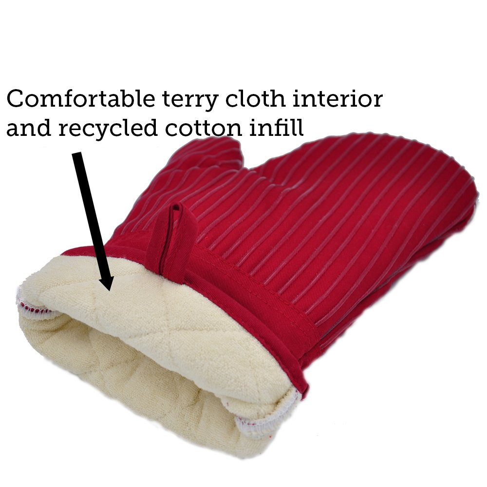 BIG RED HOUSE Oven Mitts, with the Heat Resistance of Silicone and Flexibility of Cotton, Recycled Cotton Infill, Terrycloth Lining, 480 F Heat Resistant Pair by BIG RED HOUSE (Image #7)
