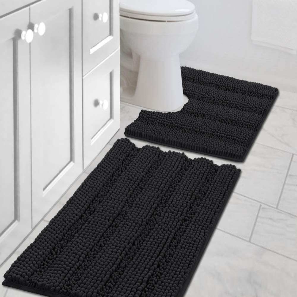 Amazon Com H Versailtex Bath Rug Set 2 Piece For Bathroom Non Slip Thick Chenille Bath Rugs Contour And Rectangle Water Absorbent Fluffy Shag Mats Machine Washable 20 X 32 Plus 20 X 20