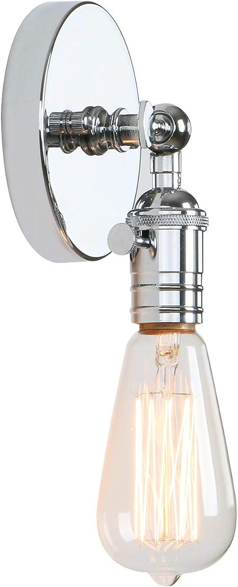 Permo Minimalist Single Socket 1 Light Wall Sconce Lighting With On Off Switch Chrome Amazon Com