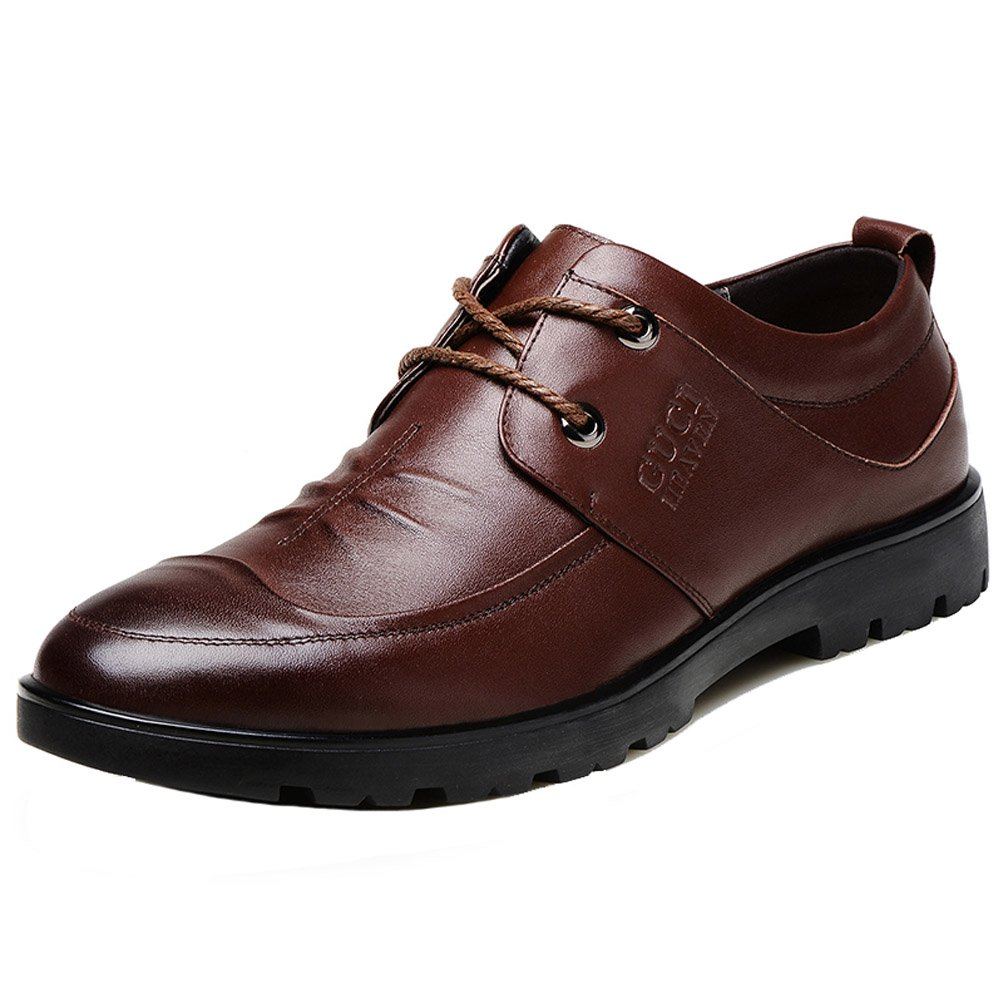 Guciheaven Men's Oxfords Shoes Cowhide Business Work Shoes Brown 10M US