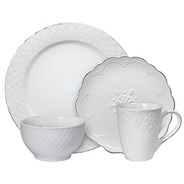 Pfaltzgraff French Lace White 48 Piece Dinnerware Set, Service for 12