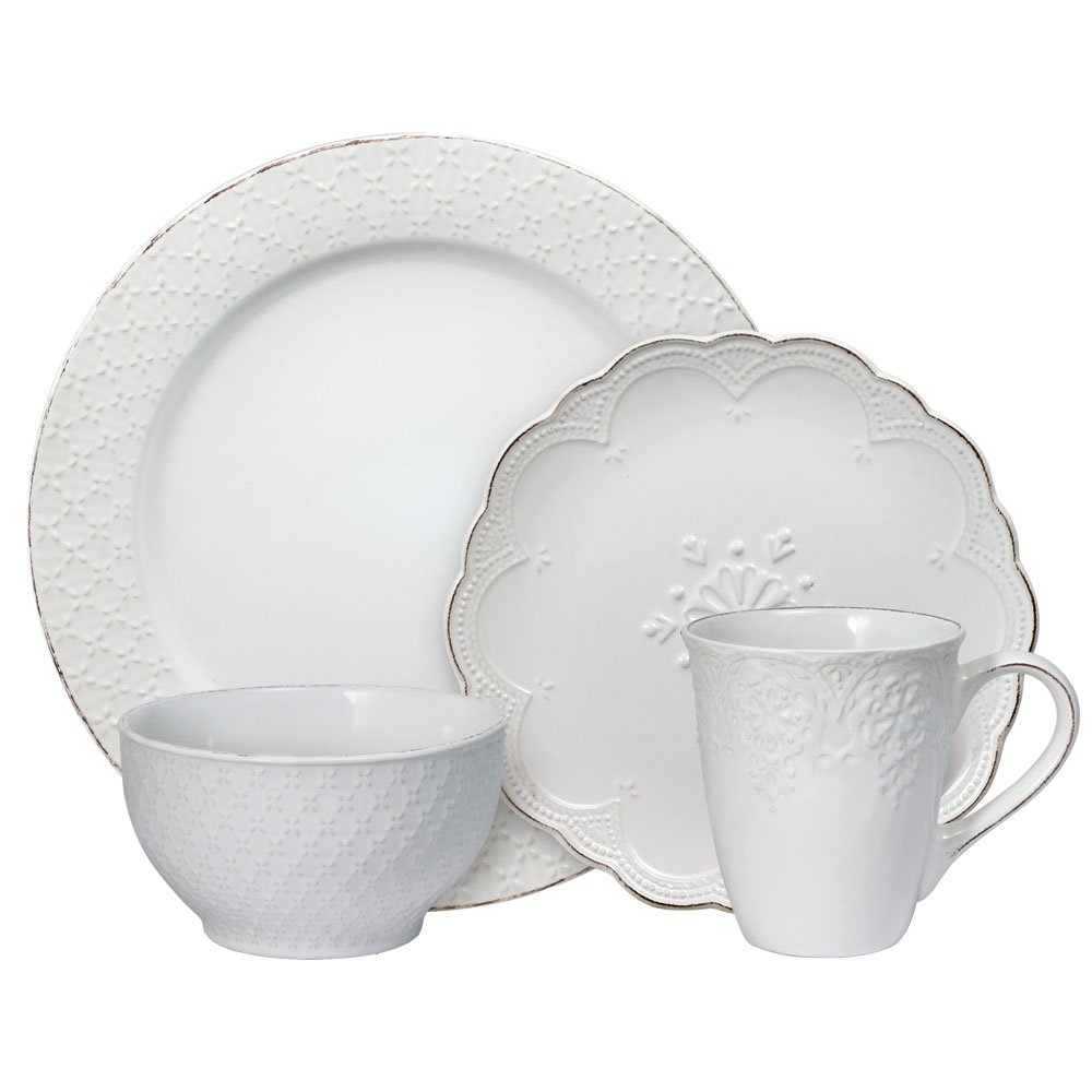 Pfaltzgraff French Lace White 16 Piece Dinnerware Set, Service for 4