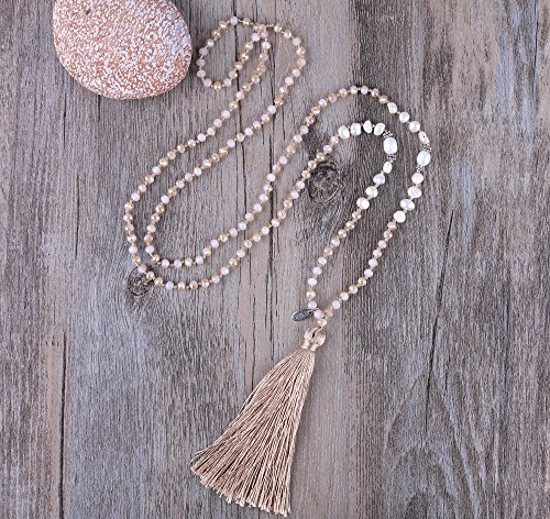 KELITCH Hand Knotted Crystal Beads Tassel Necklace for Women Grils Party Favor, Champagne