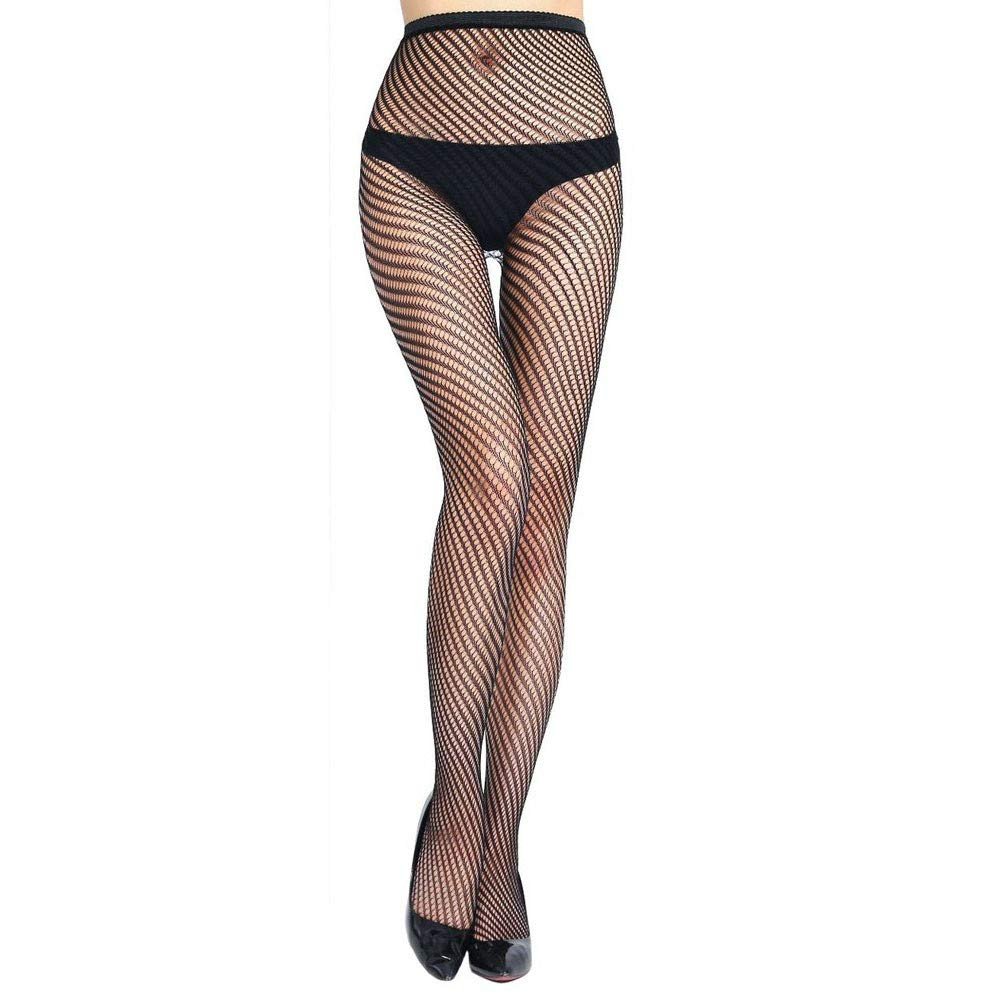 Wesracia Women's Fishnet Thigh High Stockings with Silicone Lace Top (Black-L2)