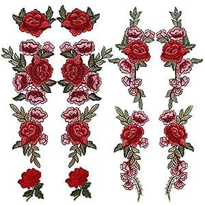 Bordado Flores Parches, 6pares DIY costura para chalecos de parches para chaquetas vestido de camiseta pantalones vaqueros falda bufanda bolsa