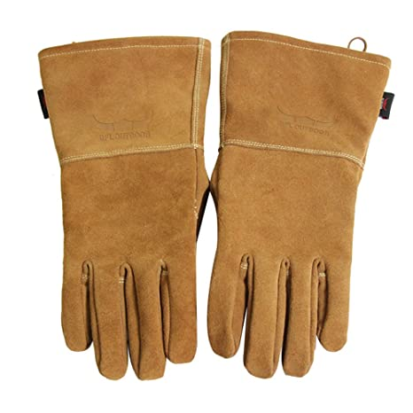 Buffalo Camping Flame & Heat Resistant Leather Gloves, Bbq gloves ...