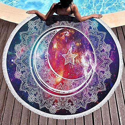 Amazon.com: WLEZY Beach Towel Mandala Moon Sun Round Beach ...