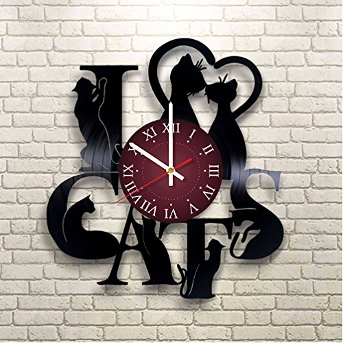 CATS Vinyl Record Wall Clock - Kids Room wall decor - Gift ideas for kids, girls, boys, teens - Cartoon Unique Art Design by World Clock Gift