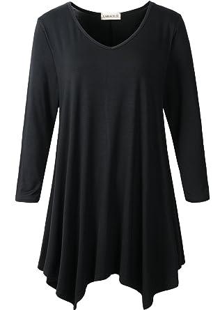 523d45990c0 LARACE Womens V-Neck Plain Swing Tunic Top Casual T Shirt at Amazon ...