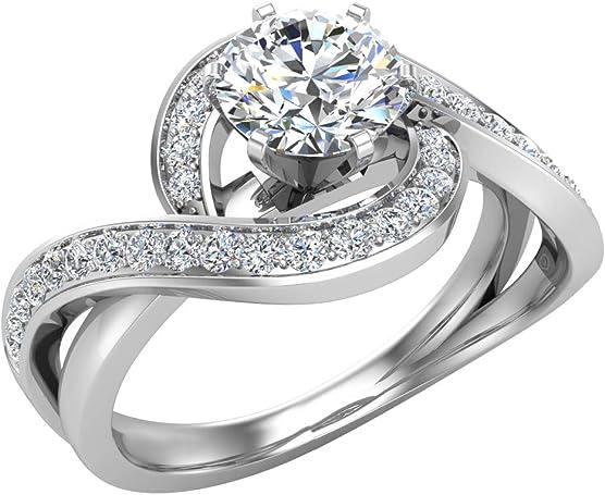 anillo oro cn diamantes entrelazados de 1 quilate caro