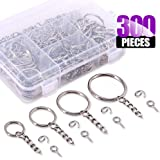 Swpeet 300Pcs Sliver Key Chain Rings Kit, 100Pcs Keychain Rings with Chain and 100Pcs Jump Ring with 100Pcs Screw Eye Pins Bulk for Jewelry Findings Making - 3/5 Inch, 4/5 Inch, 1 Inch, 6/5 Inch