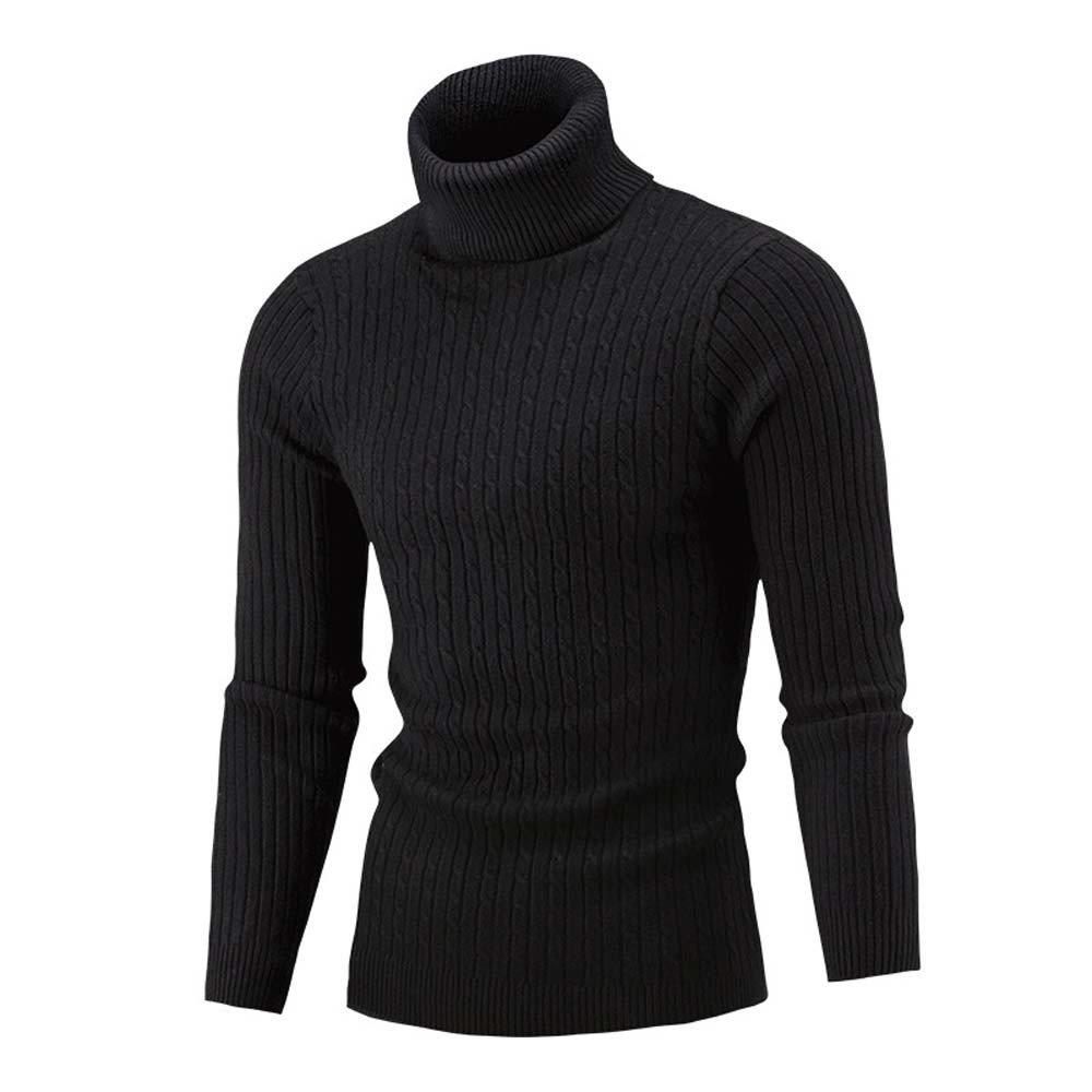 Winter Men Slim Warm Knit High Neck Pullover Jumper Sweater Turtleneck Top BK/XL