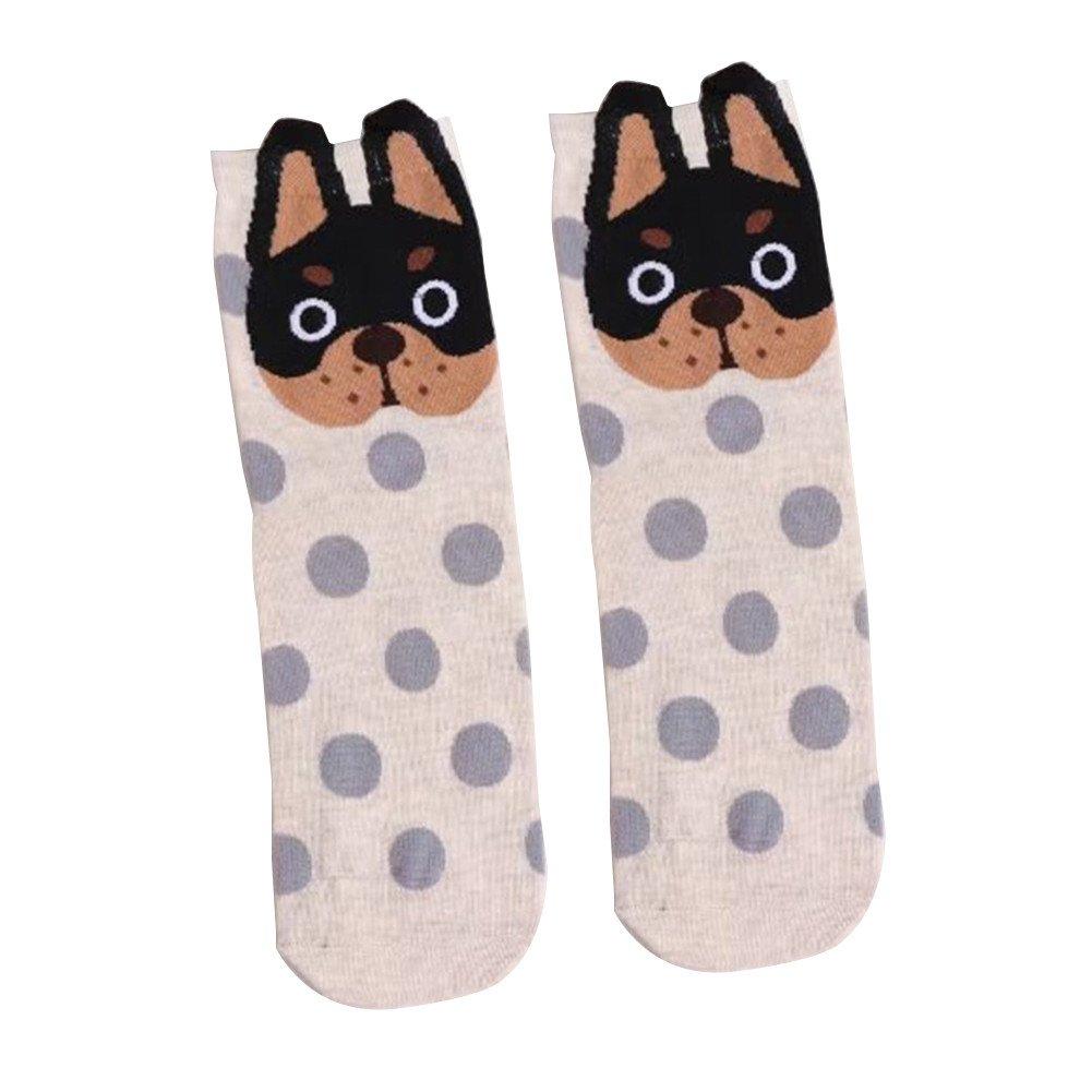 Yosemite Niñas Calcetines de algodón suave Cartoon perro lunares, pequeñas orejas calcetines, Light Purple