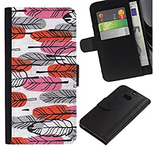 APlus Cases // HTC One M8 // Pluma Pascua Rojo Rosa mano dibujado Arte // Cuero PU Delgado caso Billetera cubierta Shell Armor Funda Case Cover Wallet Credit Card