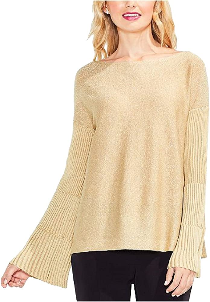 Bisque, XXS Vince Camuto Sparkly Bell Sleeve Sweater