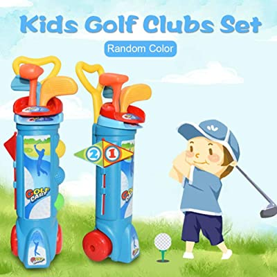 Kids Golf Clubs Set with Golf Cart, 3 Golf Clubs, 2 Practice Holes, 2 Golf Tees, 3 Balls, Early Educational Outdoors Exercise Toy for Kid Ages 2, 3, 4, 5, 6 Years Old: Clothing