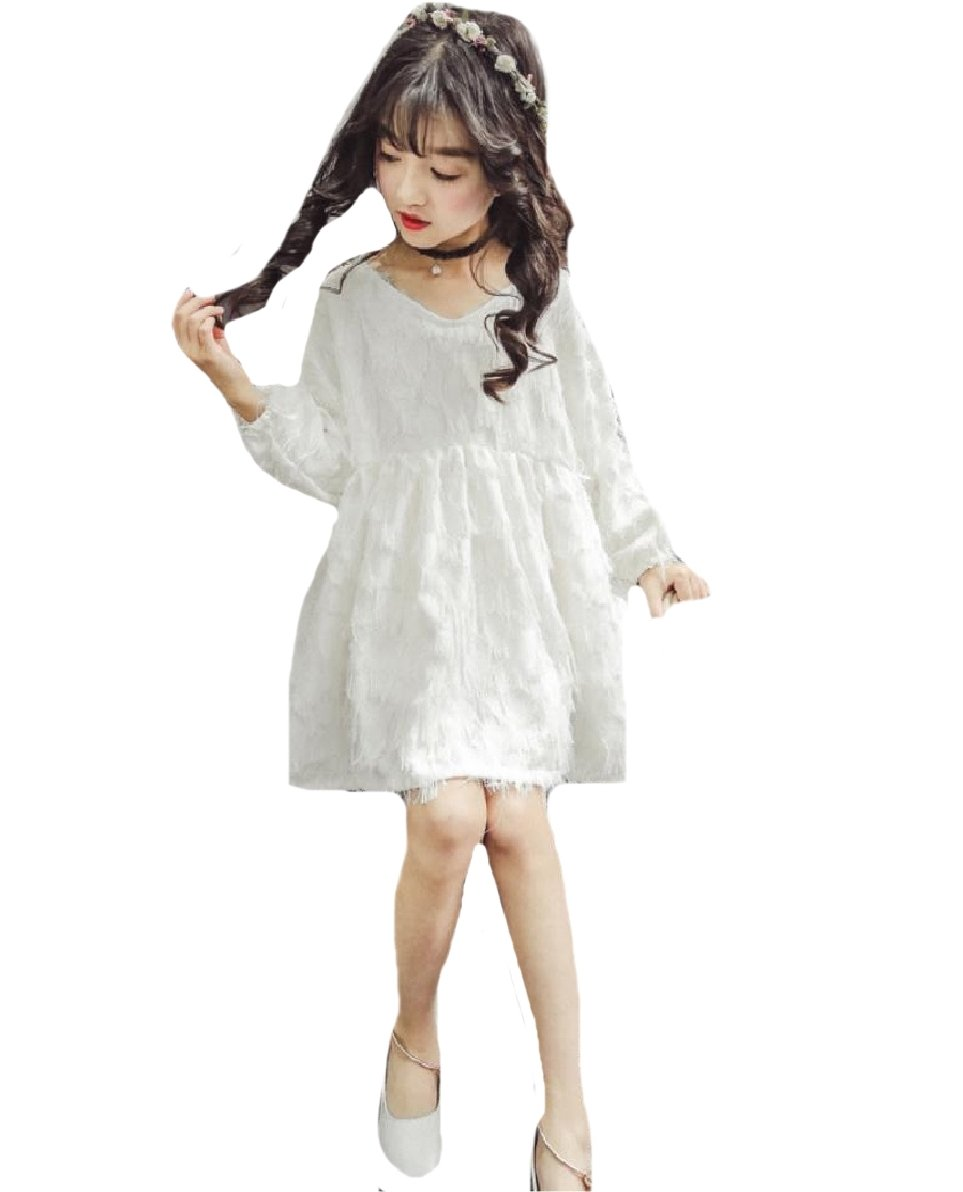 Comfy Girls V-Neck Solid Tassels Fine Cotton Princess Party Dresses White 120